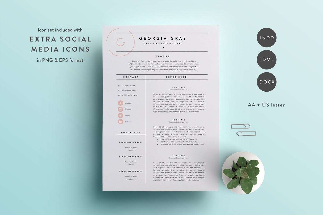 3 Page Resume Template For Word InDesign